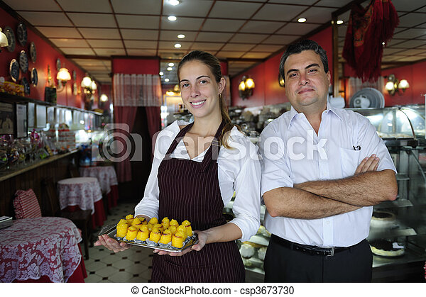 small business: owner of a cafe and waitress - csp3673730