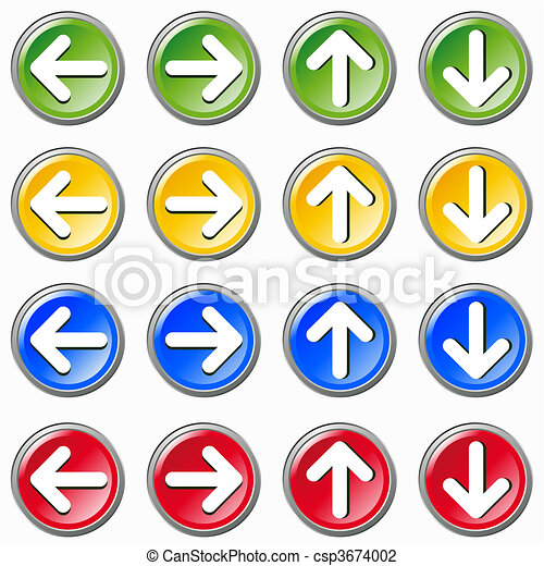 Set of colorful arrows icons on whi - csp3674002