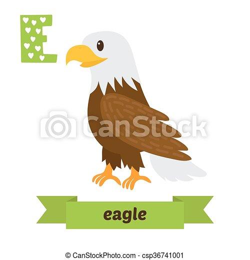 Vector Clipart of Eagle. E letter. Cute children animal alphabet ...