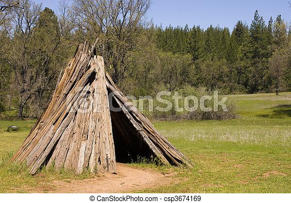U'macha or dwelling of the Sierra Miwok tribe in California - csp3674169