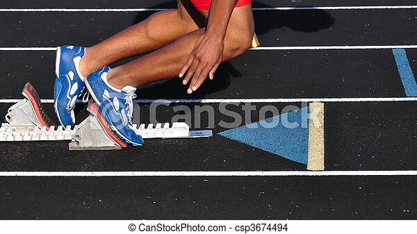 Teen Boy Leaving the Starting Blocks - csp3674494