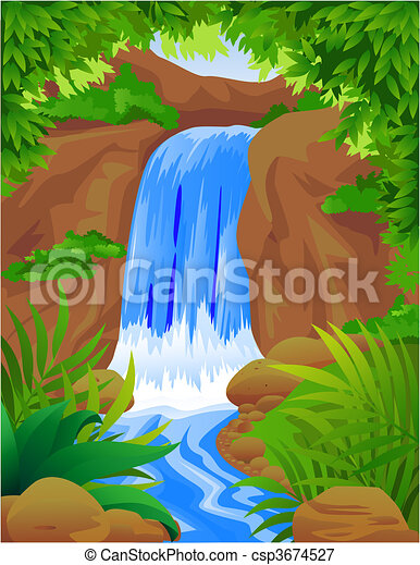 vectors illustration of water fall vector waterfall