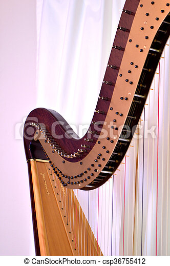 Closeup of the strings and mechanisms of a concert grand, pedal harp.
