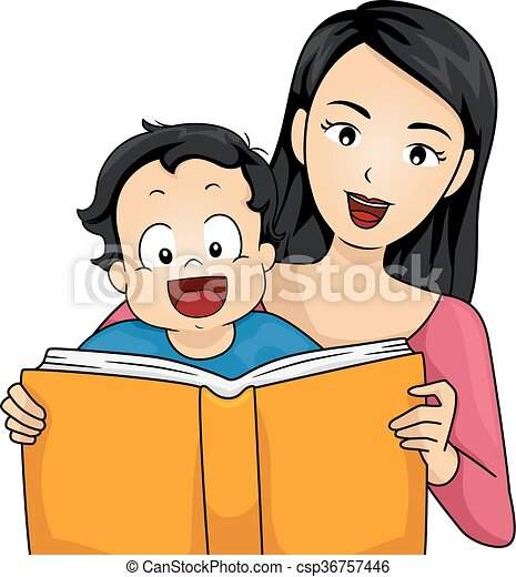 Family Mother Read Story Book Baby Boy - csp36757446