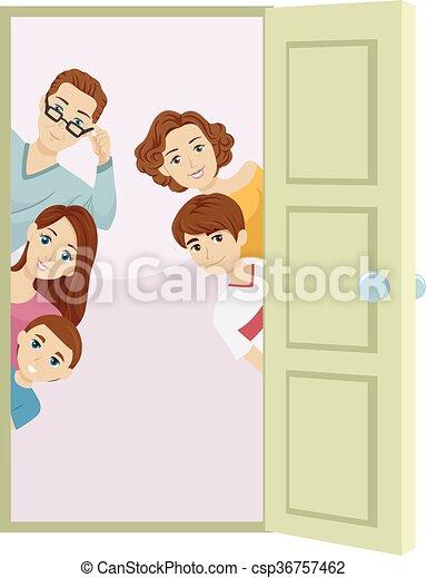 Open Door Welcome Clipart clip art vector of family welcome door - illustration of an open