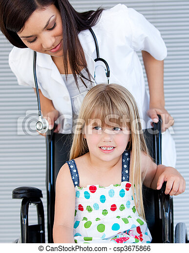 Smiling cute girl sitting on the wheelchair - csp3675866