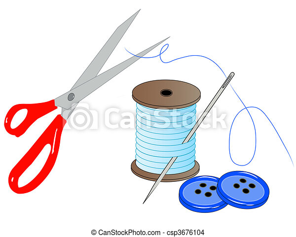 needle thread scissors and buttons - sewing kit - vector - csp3676104