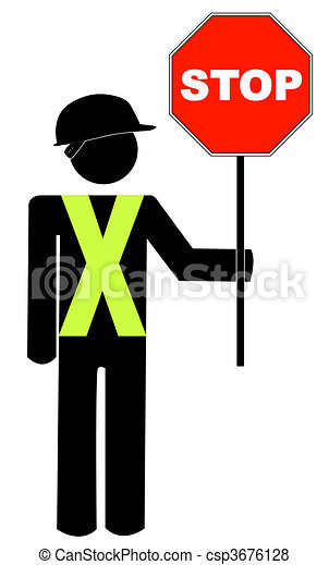 construction worker in yellow vest holding red stop sign - vector - csp3676128
