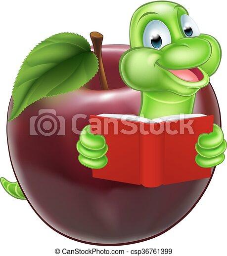 Bücherwurm clipart  Clip Art Vektor von bücherwurm, maskottchen - Mascot, Illustration ...