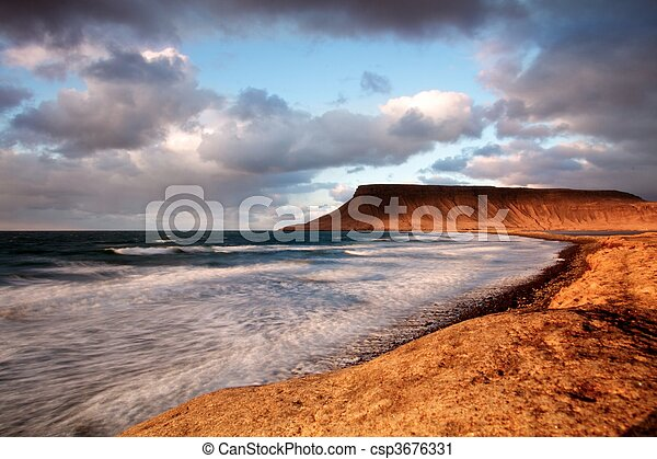 Coastline at sunset, long exposure  - csp3676331
