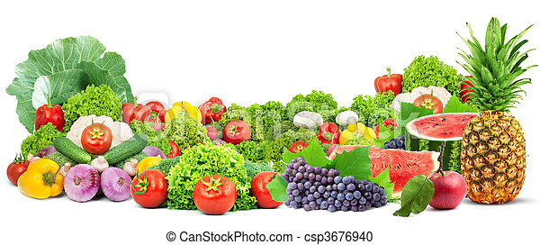 Colorful healthy fresh fruits and vegetables - csp3676940