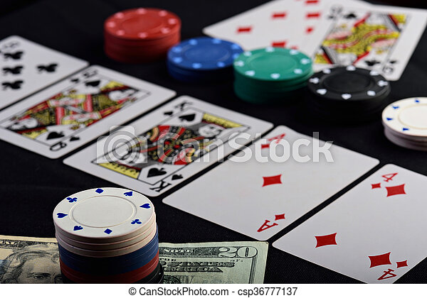 close up of gamble bet in holdem poker