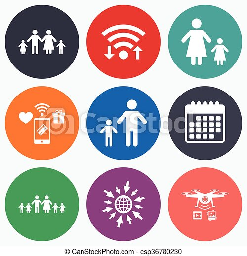 Vectors of Family with two children sign. Parents and kids. - Wifi ...