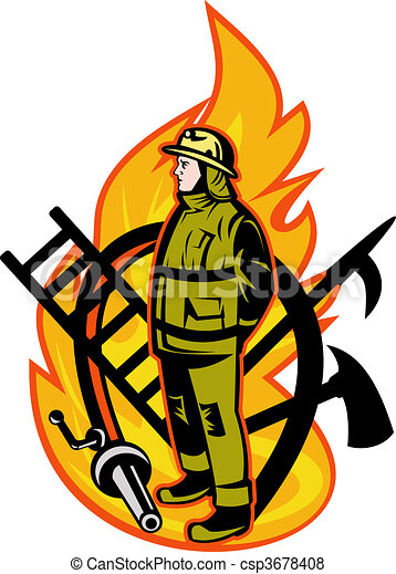 Firefighter with axe ladder, spear, hook and fire hose. - csp3678408