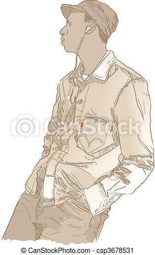 Man  listening music - csp3678531