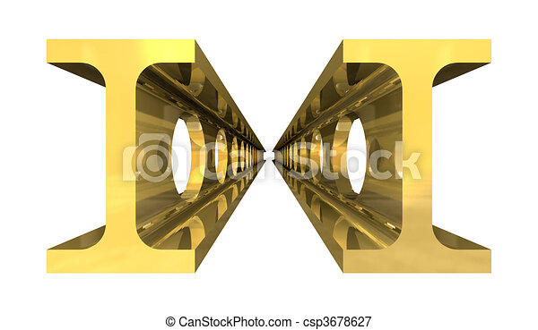Capple of gold steel girder isolated on white background - 3d  - csp3678627