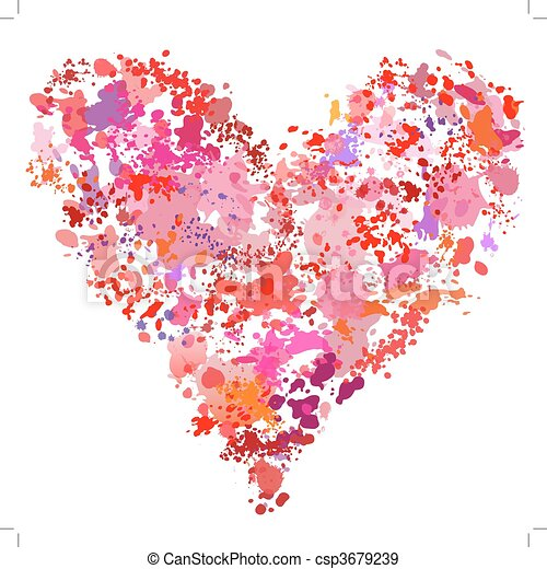 Heart shape paint spatter splatter painting abstract - csp3679239