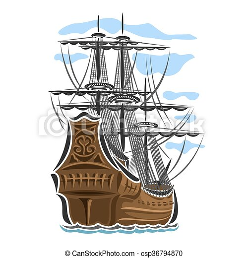 Illustrations vectoris es de logo bateau vecteur pirate - Voilier dessin facile ...