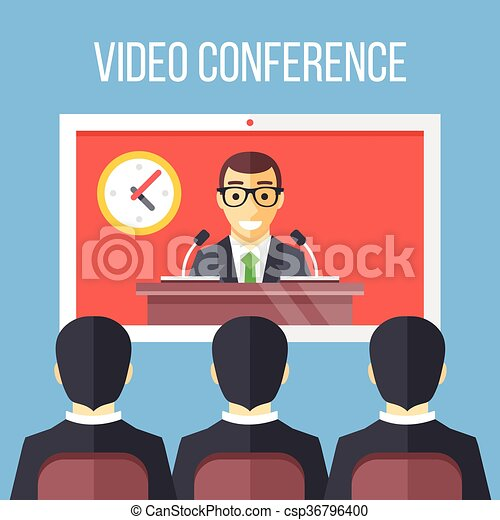 vector clipart of video conference flat illustration