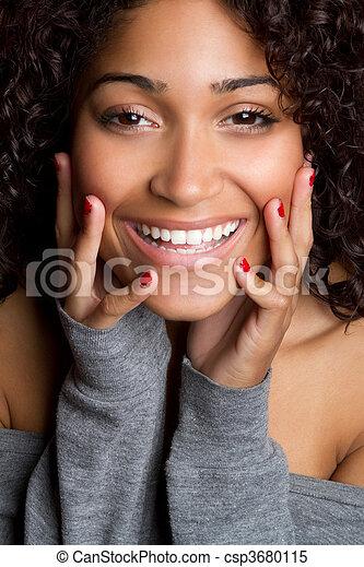 微笑, 女, 黒 - csp3680115