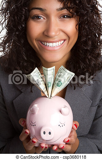 donna, banca piggy - csp3680118