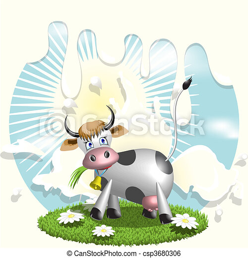 Cow and milk - csp3680306