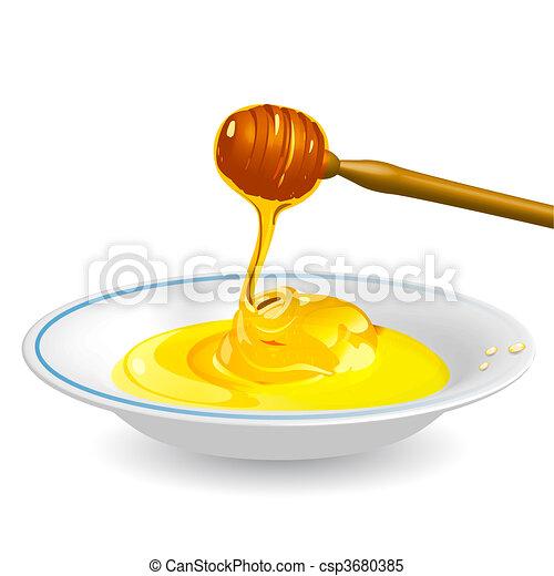 Honey on saucer - csp3680385