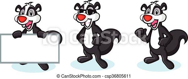 Black Polecat Mascot happy - csp36805611