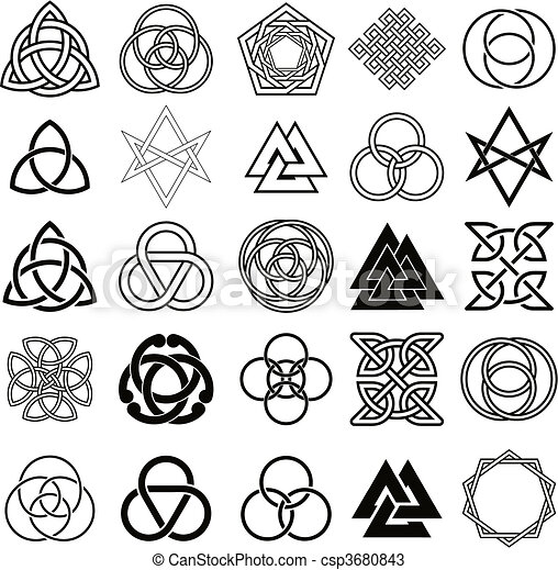 Set of symbols icons vector. Tattoo - csp3680843