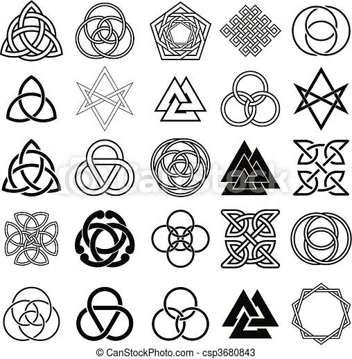 Set of symbols icons vector. Tattoo - csp3680843