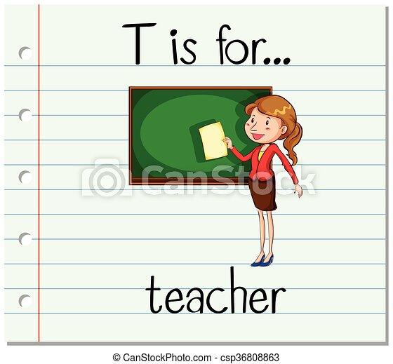 Clip Art Vector of Flashcard letter T is for teacher illustration ...