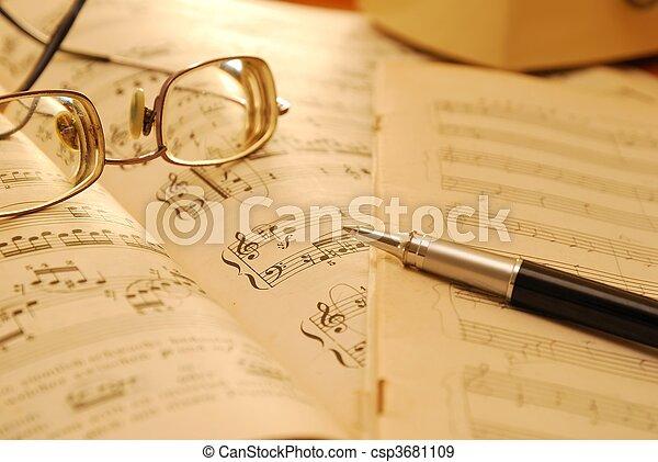 antigas, música, contagem, manuscrito, e, caneta - csp3681109