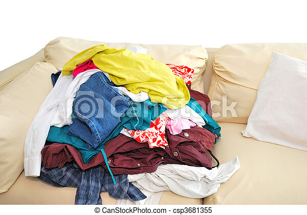Messy clothes on sofa - csp3681355