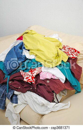 Messy clothes on sofa - csp3681371