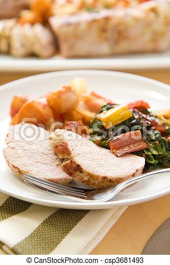 Stock Photos of Pork Tenderloin - Pork tenderlion served with peach ...