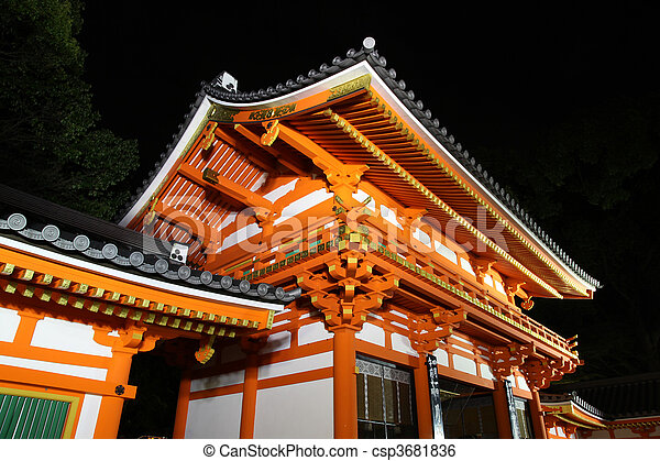 Japanese Temple illuminated at night in Kyoto and Japan. - csp3681836