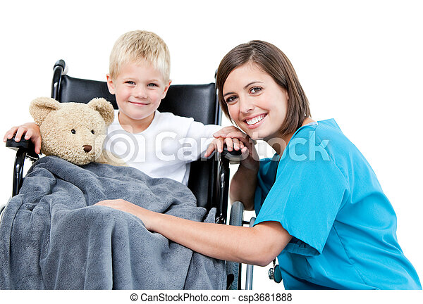 Nice female doctor carrying adorable little boy with his teddy bear in the wheelchair at the hospital - csp3681888