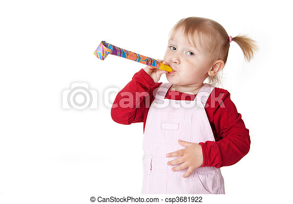 little girl with party blower  - csp3681922