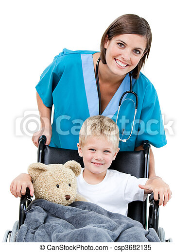 Nice female doctor carrying adorable little boy in the wheelchair at the hospital - csp3682135