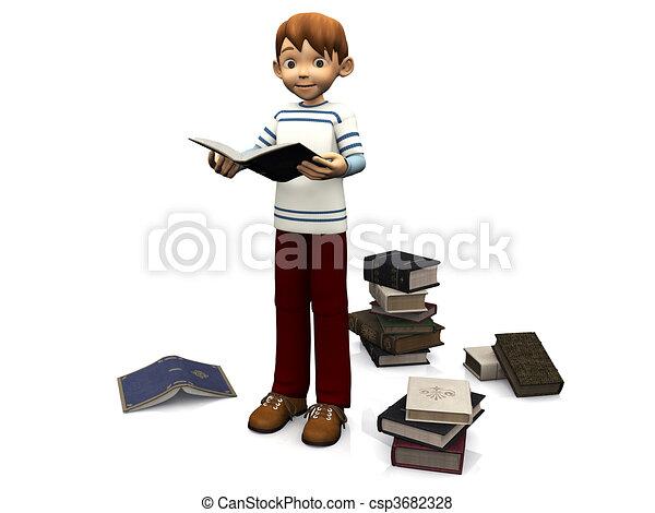 Cute cartoon boy reading book. - csp3682328