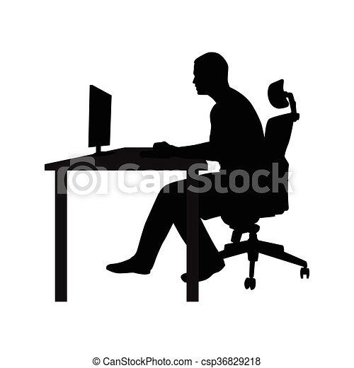 Schreibtisch büro clipart  Vektor Clipart von arbeitende , monitor, buero, sitzen, seite ...