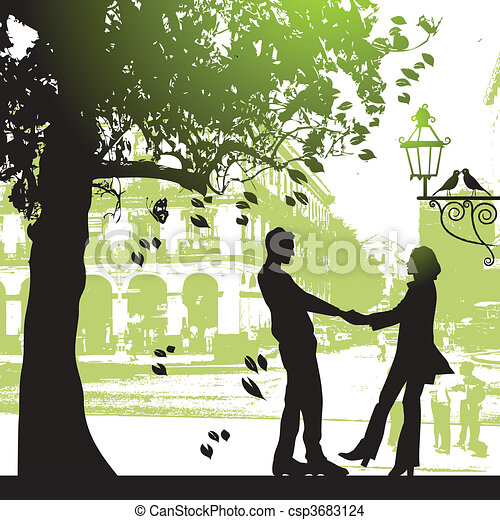 EPS Vector Of Couple Under The Tree In City Park Csp3683124 - Search Clip Art Illustration ...