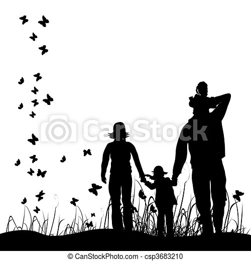 Happy family walks on nature - csp3683210