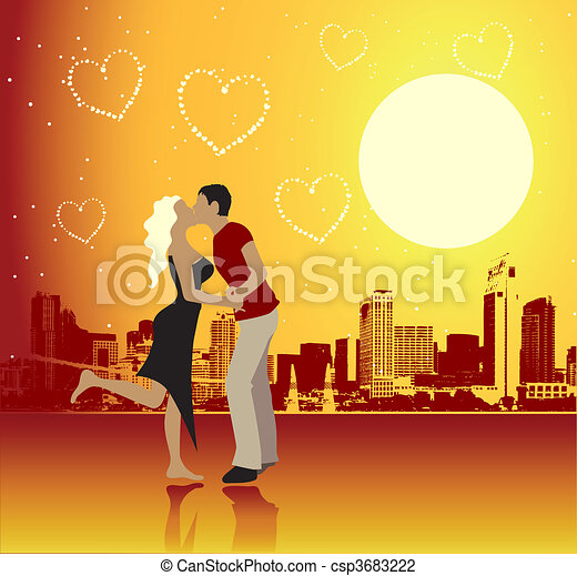 Valentine day, urban scene, couple - csp3683222