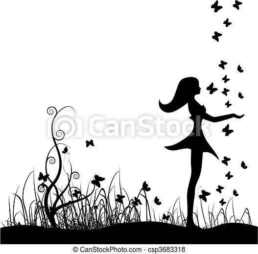 Beautiful girl on meadow, butterfli - csp3683318