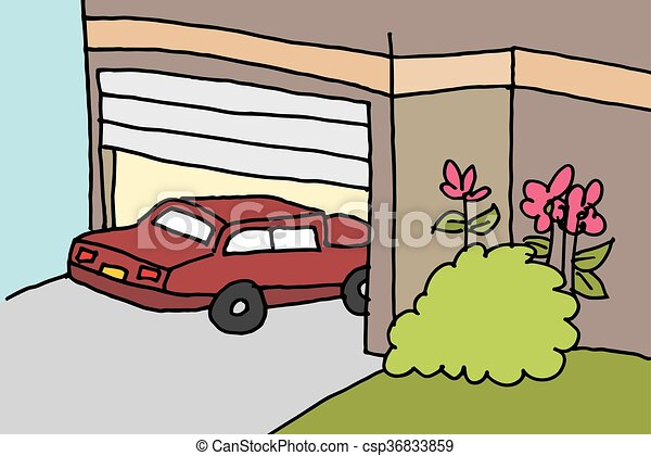 clipart vector of car parking in a garage an image of a car parking in a csp36833859. Black Bedroom Furniture Sets. Home Design Ideas