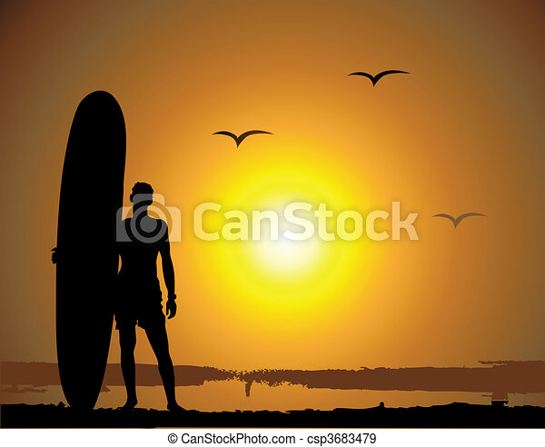 Summer vacations, surfing - csp3683479