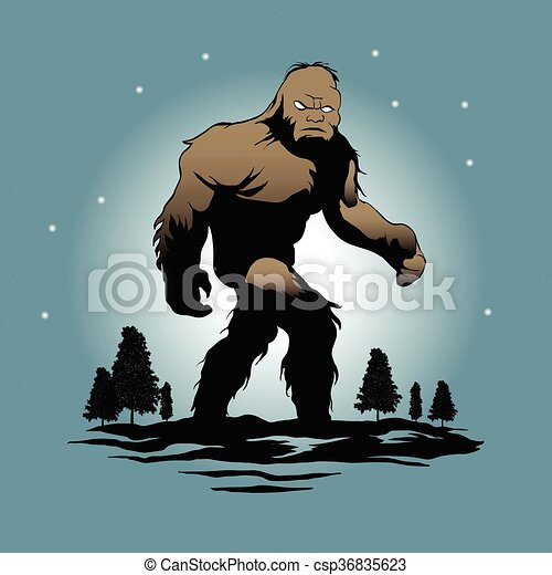 Vector Illustration of Bigfoot Silhouette Illustration.sasquatch ...