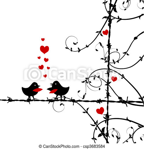 Love, birds kissing on branch - csp3683584