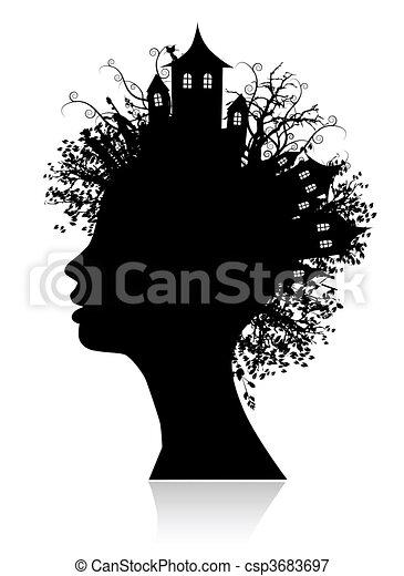 Environment, thinking silhouette - csp3683697